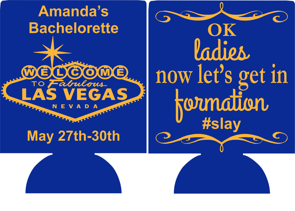Las Vegas Sign Bachelorette koozie custom funny saying ideas can cooler