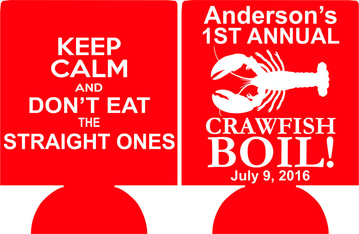 Keep Calm Crawfish Boil Koozies party favors can coolers