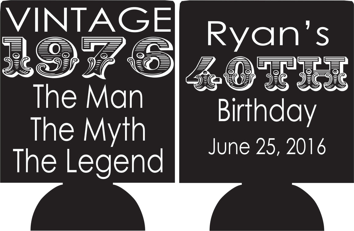 Vintage the man the myth the legend 40th Birthday koozies can coolers