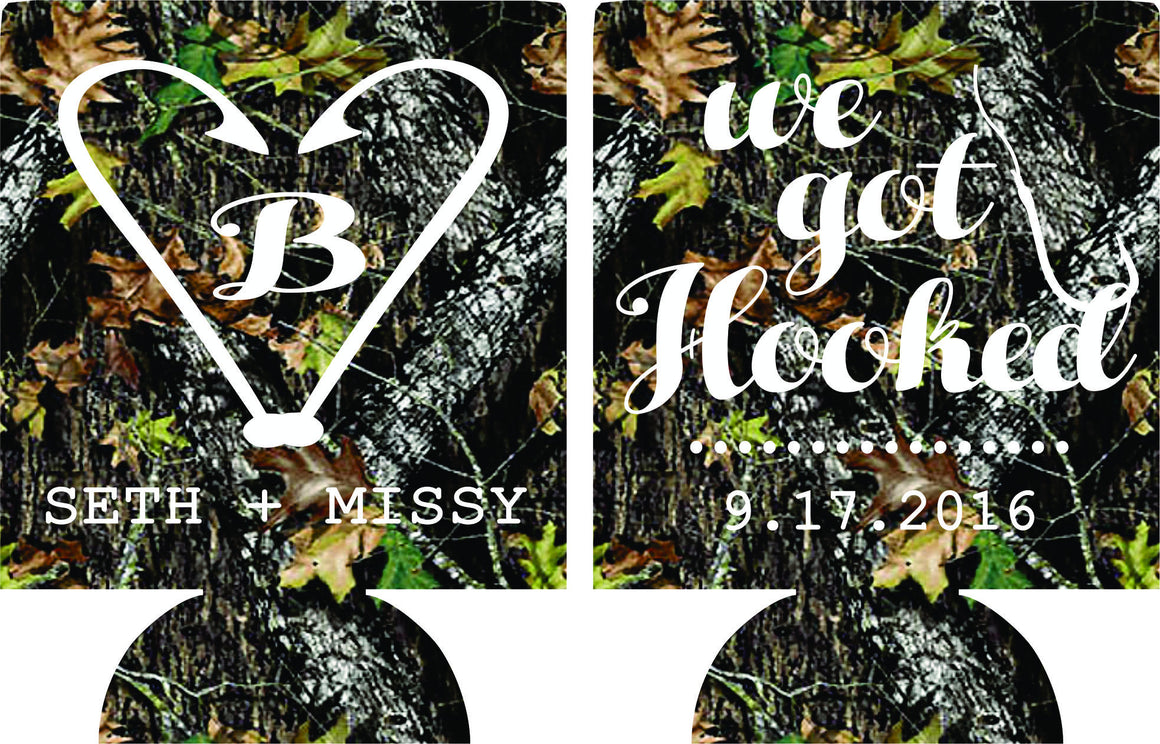 We got hooked Camo Wedding koozies