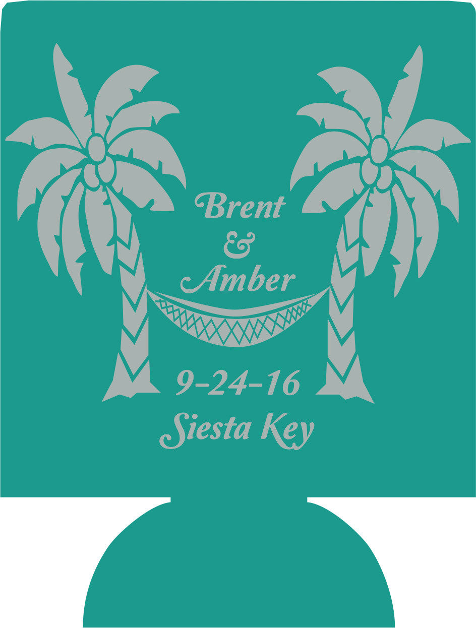 Beach Wedding koozies palm trees favors Can Coolers