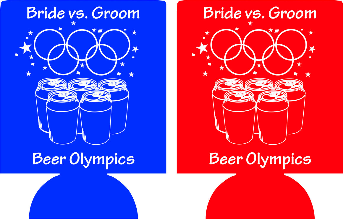 beer olympics Bachelor party koozies bride vs groom