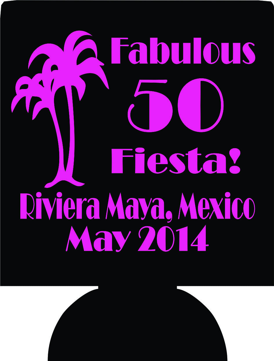 50 and fabulous fiesta Birthday Koozies Mexico