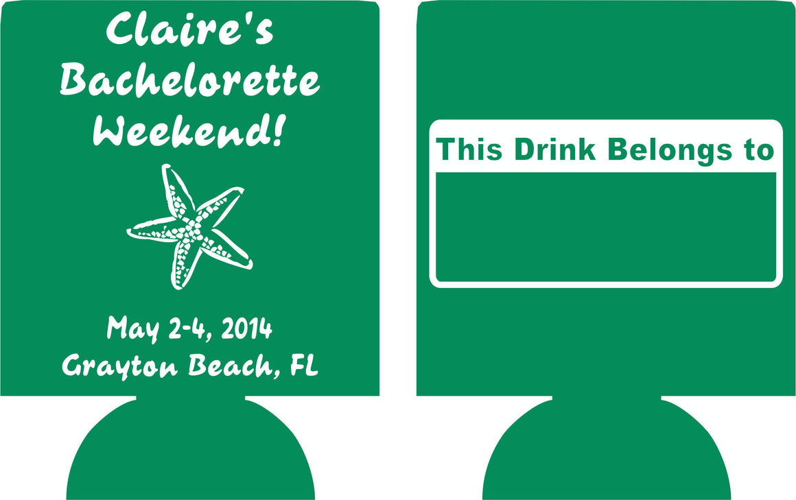 grayton beach Florida bachelorette koozies starfish