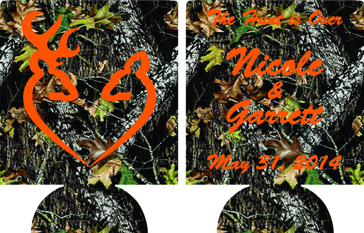 The Hunt is over Camo Wedding koozies personalized Can Coolers