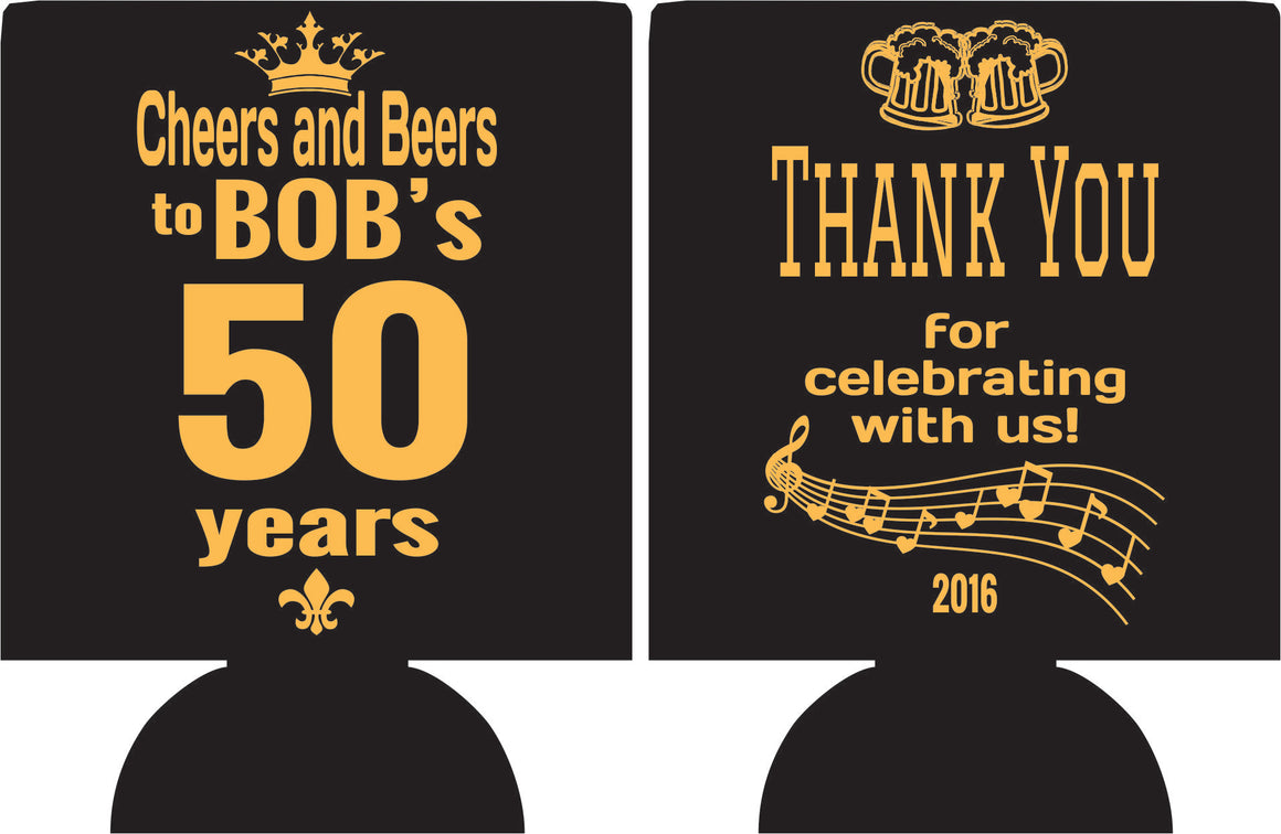 cheers and beers 50th Birthday koozies thanks for celebrating can coolers