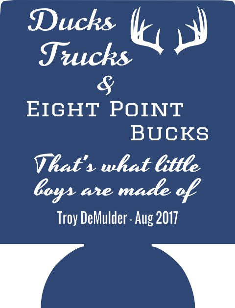 Ducks Trucks Baby Shower party favor Can Coolers