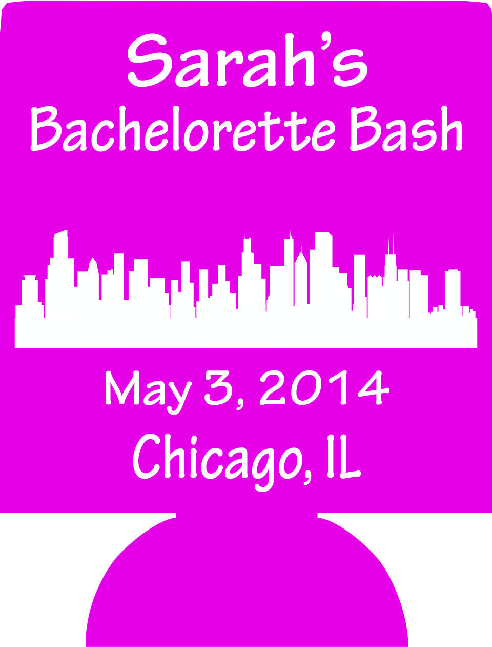 Chicago IL Bachelorette koozie skyline clipart personalized