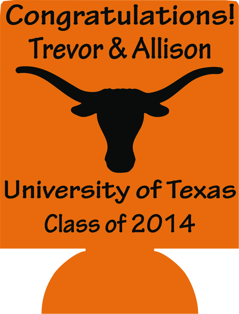 University of Texas graduation koozies no minimum fast can coolers
