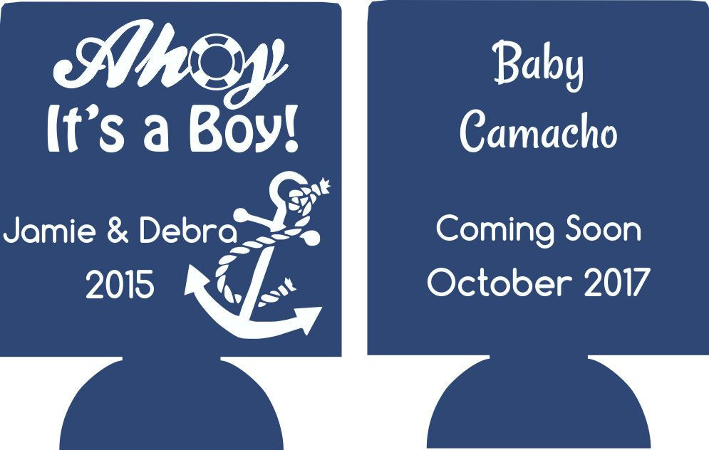 ahoy its a boy nautical baby shower koozie party favors 170888359DS