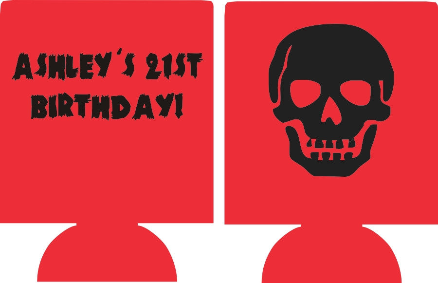 Skull Birthday Koozies 21st custom personalized can coolies