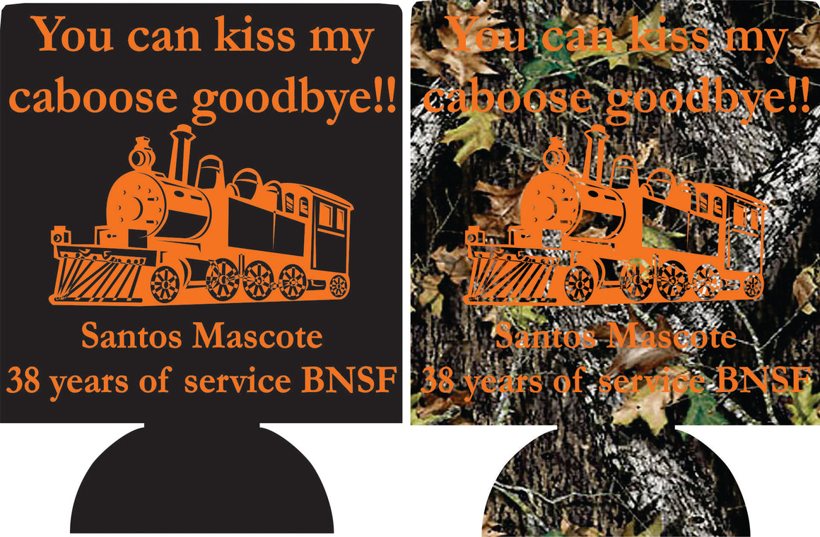 Retirement party gift custom koozie design kiss my caboose train decorations