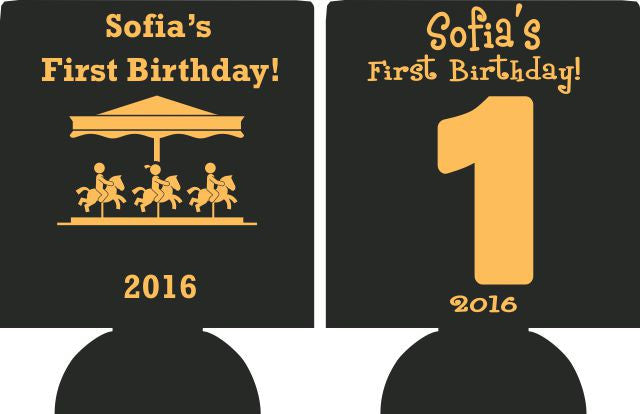 1st Birthday Koozies kids Carnival custom can coolies