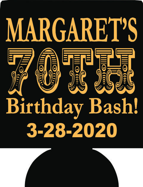 Personalized Custom 70th Birthday Bash can coolers party favors E02082020