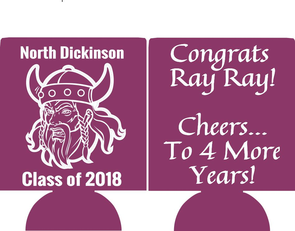 2018 graduation party koozie favors can coolers mascot personalized