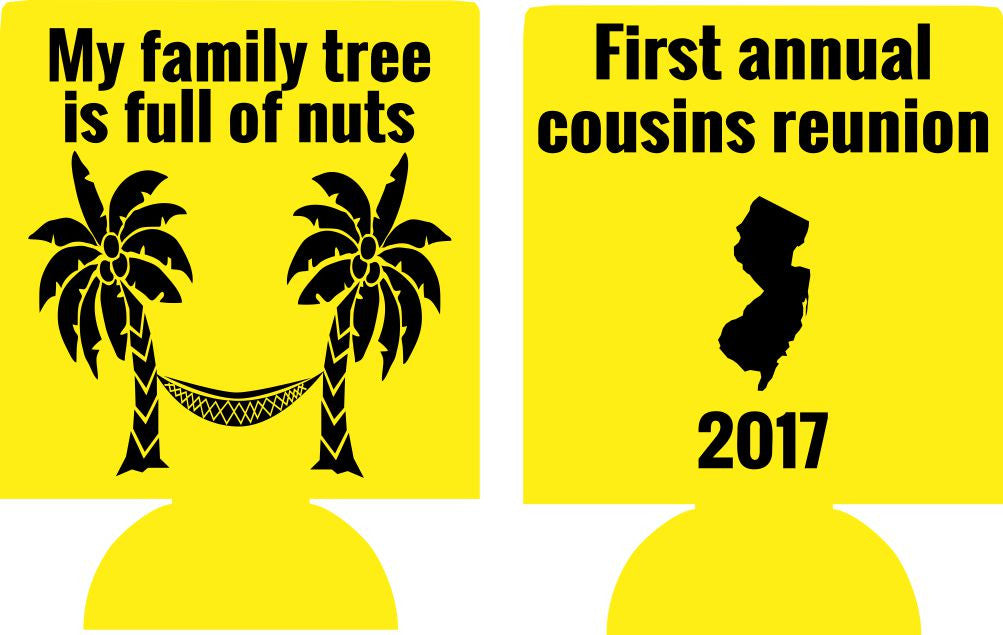 State Family reunion koozie family treefull of nuts can coolers