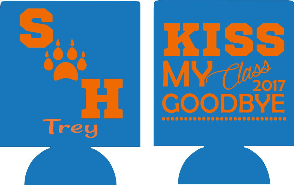 Kiss my class goodbye custom graduation koozies can coolers personalized