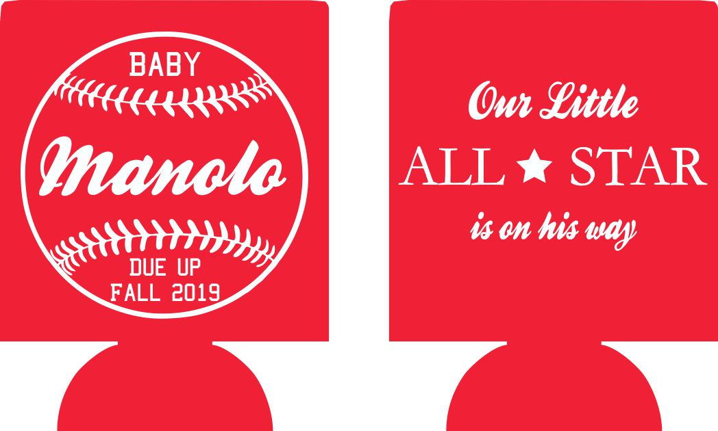 Baseball theme baby shower koozie party favors