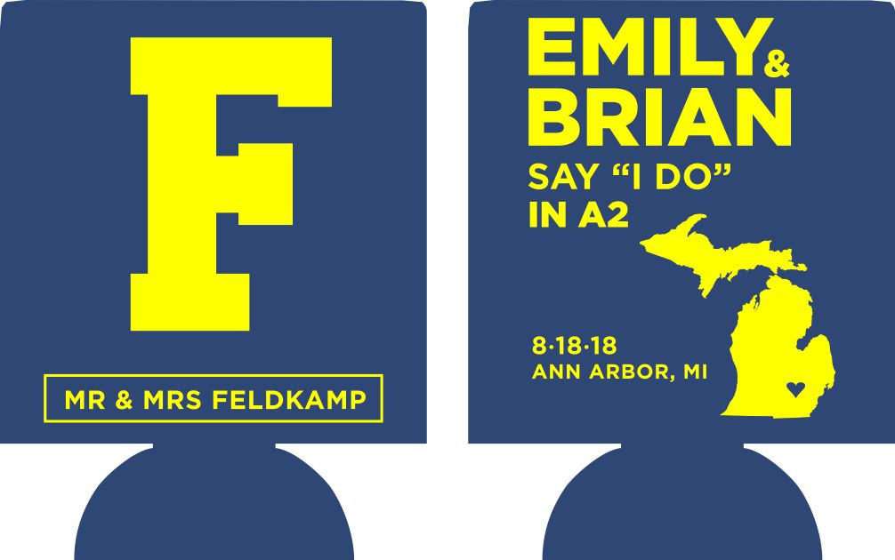 Michigan Wedding koozies party favor custom can coolers