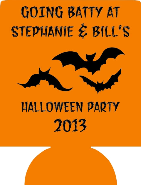 Going Batty Custom Halloween party koozie favors can coolers