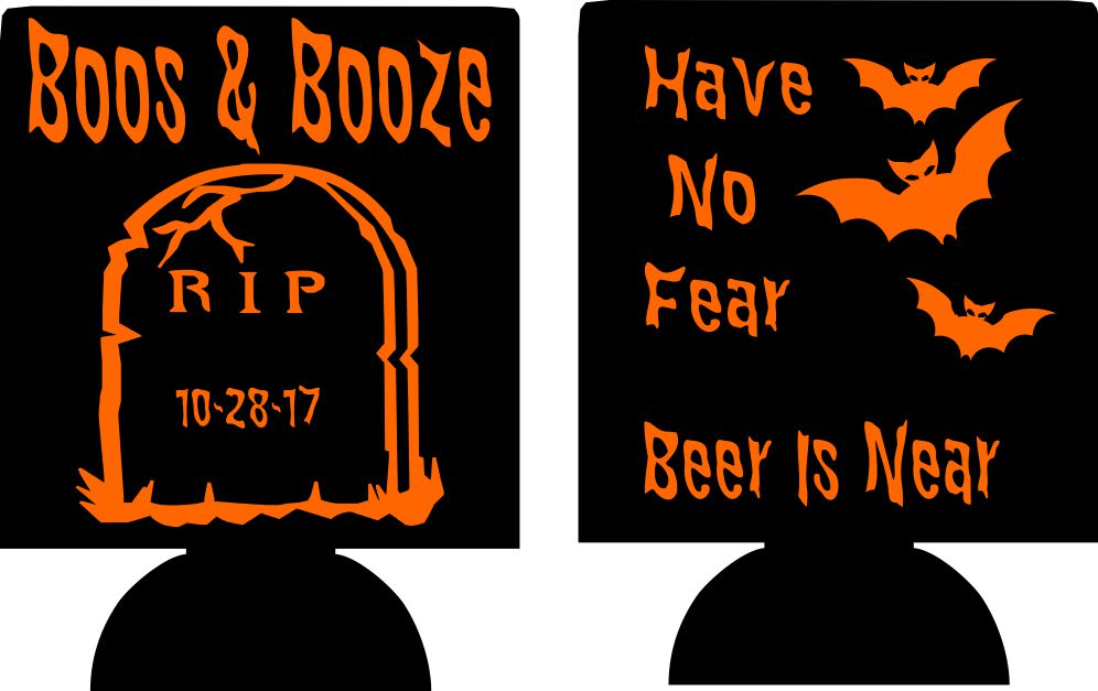 Boos and Booze Halloween Koozies party favors can coolers