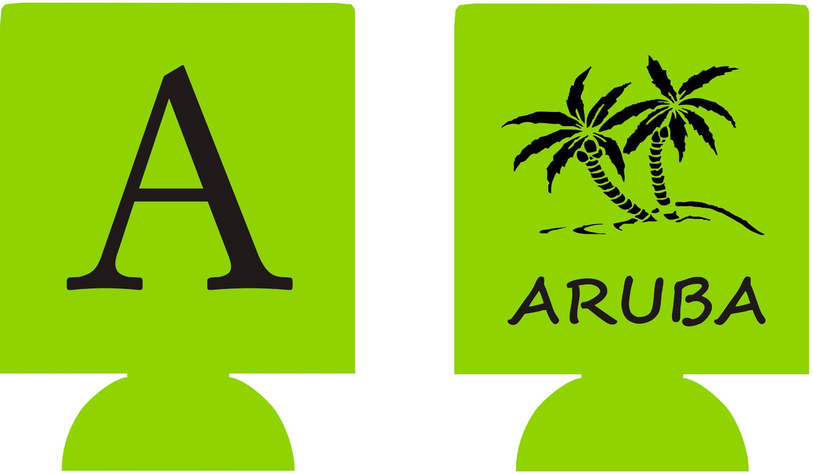 Aruba wedding koozie no minimums monogram can coolers quick shipping