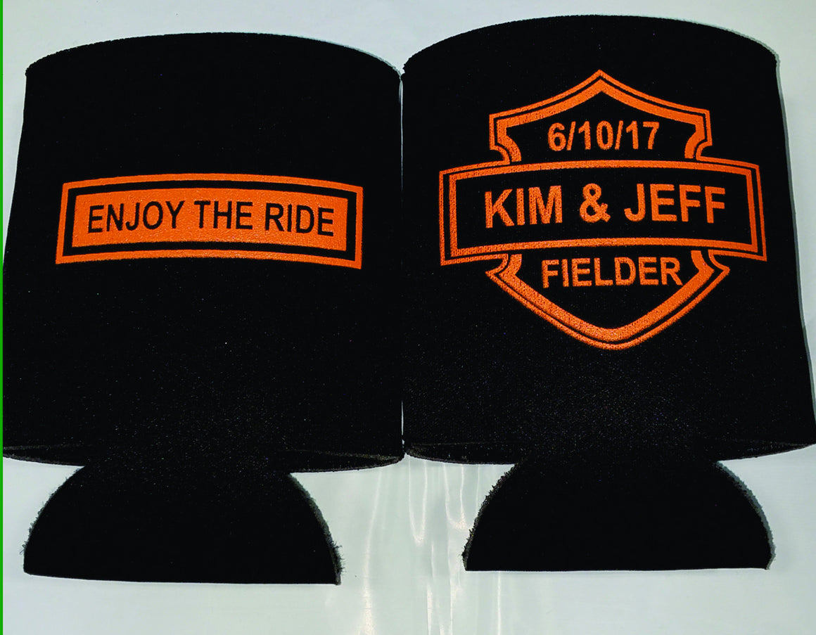 harley davidson wedding koozies custom