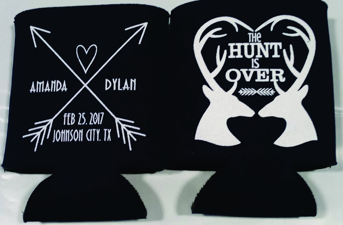 the hunt is over wedding koozies