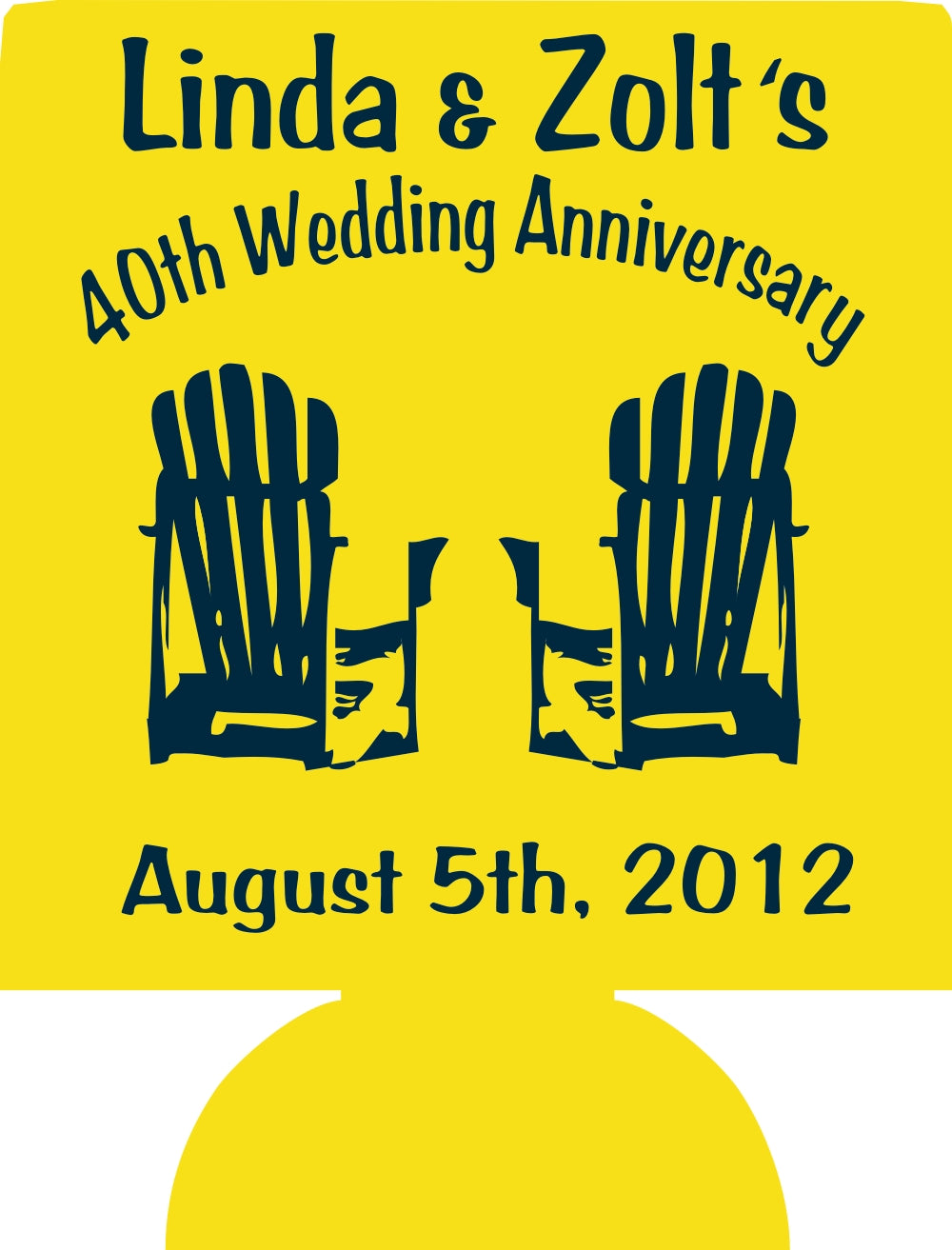 40th Wedding Anniversary Koozies no minimums beach chair Can Coolers