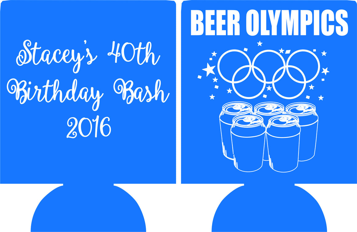 40th beer olympics  Birthday more fun then favors can coolers e08032016