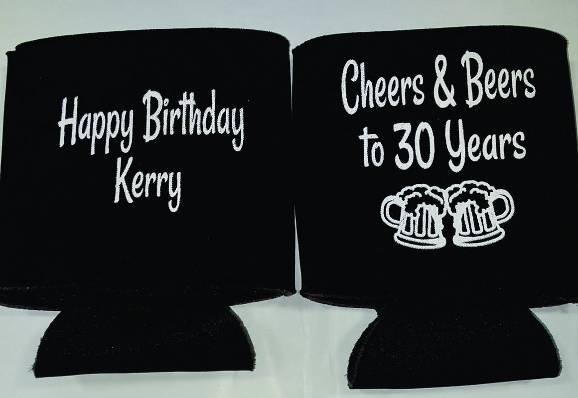 Cheers and Beers 30th Birthday party favors can coolers 1118039764