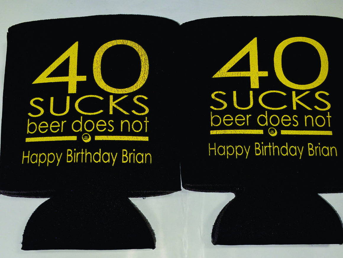 40 sucks - 40th Birthday party funny favors can coolers 1122183361
