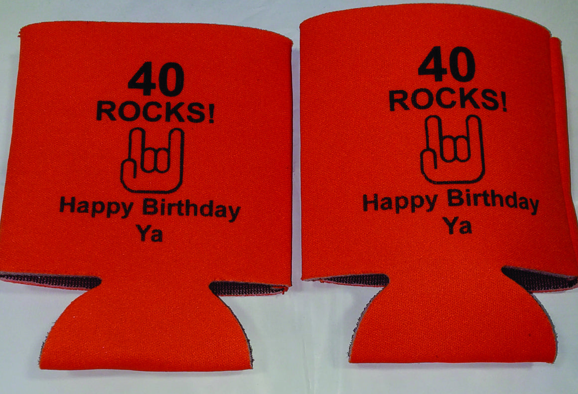 40th Birthday koozies 40 rocks party funny favors can coolers