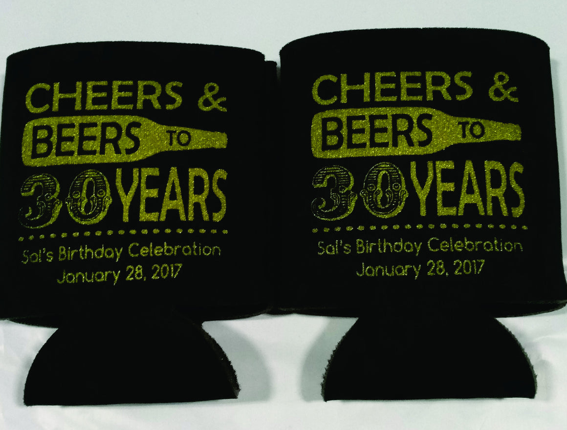 Cheers and Beers 30th Birthday party favors can coolers 1122386805