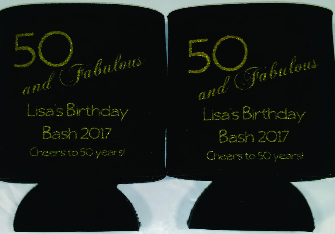 quick 50th Birthday koozies party favors 50 and fabulous can coolers