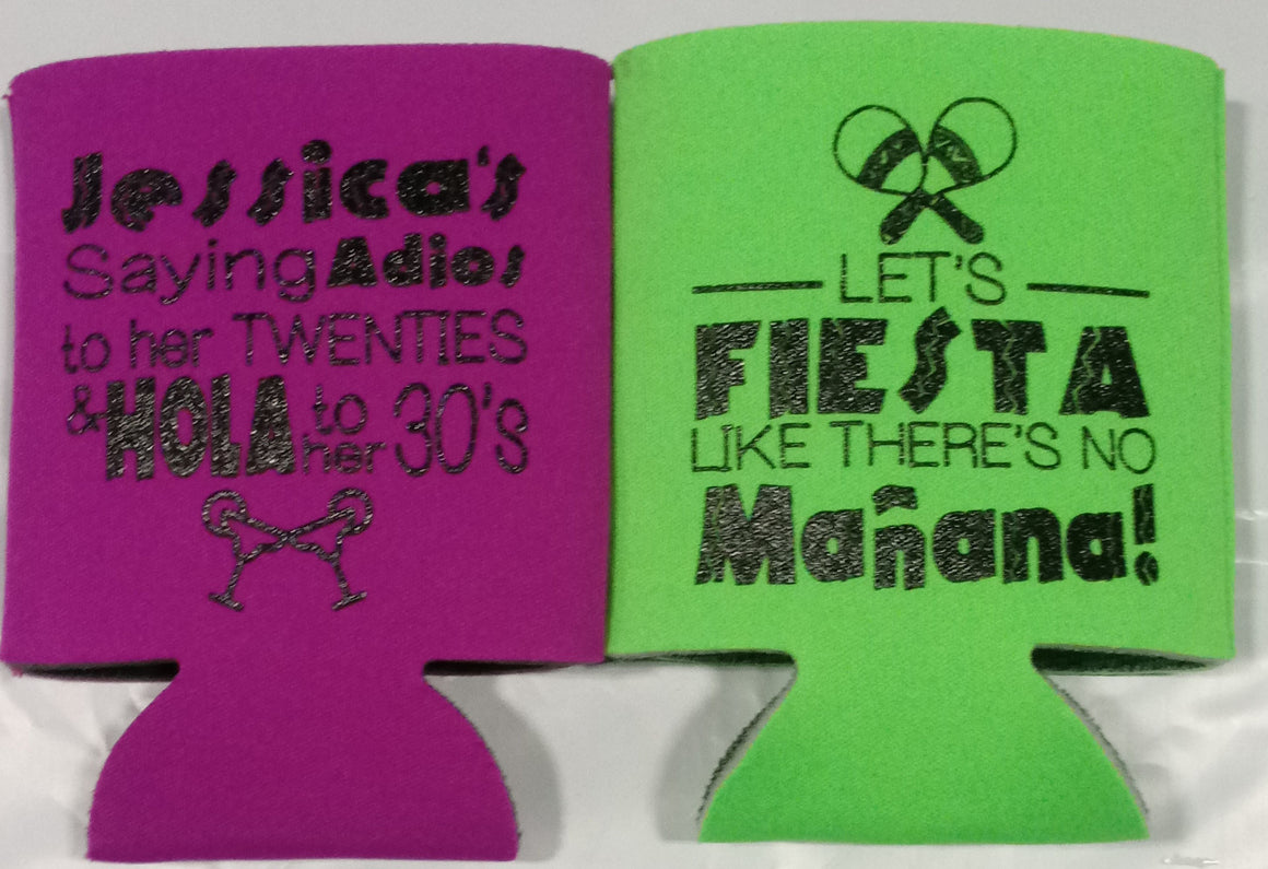 Adios 20's hola to 30's Birthday fiesta koozies favors can coolers