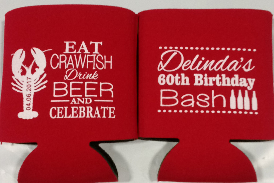 Crawfish Boil 60th Birthday party favors can coolers