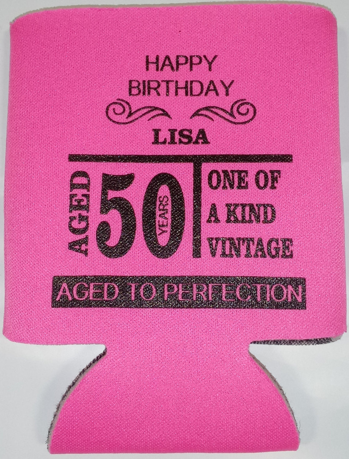 Aged to Perfection 50th Birthday party favors can coolers
