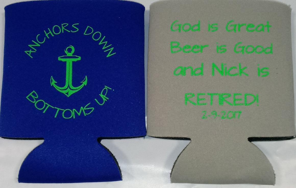 Custom Retirement koozies party favors can coolers