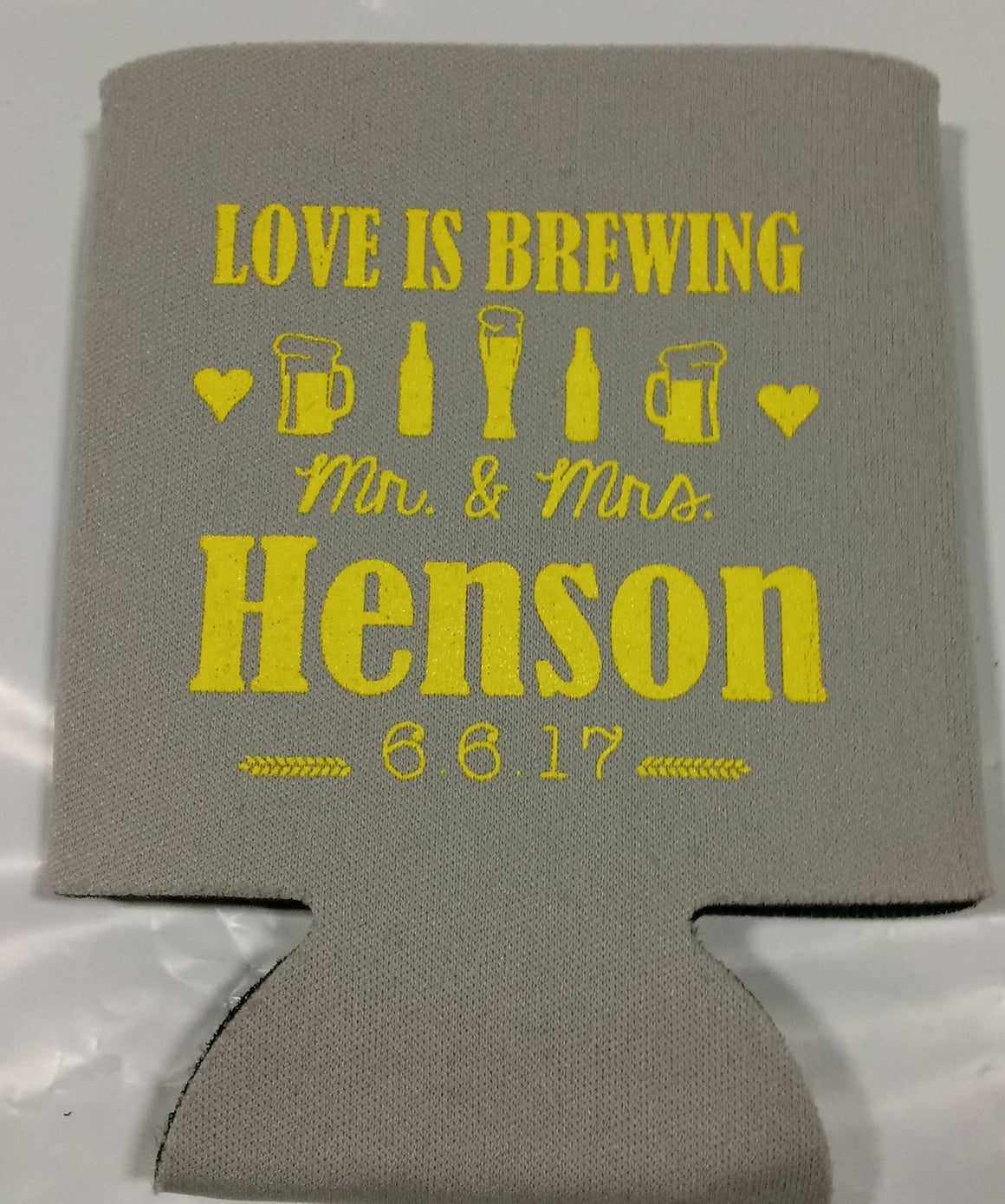 Love is Brewing Wedding koozies party favors Can Coolers