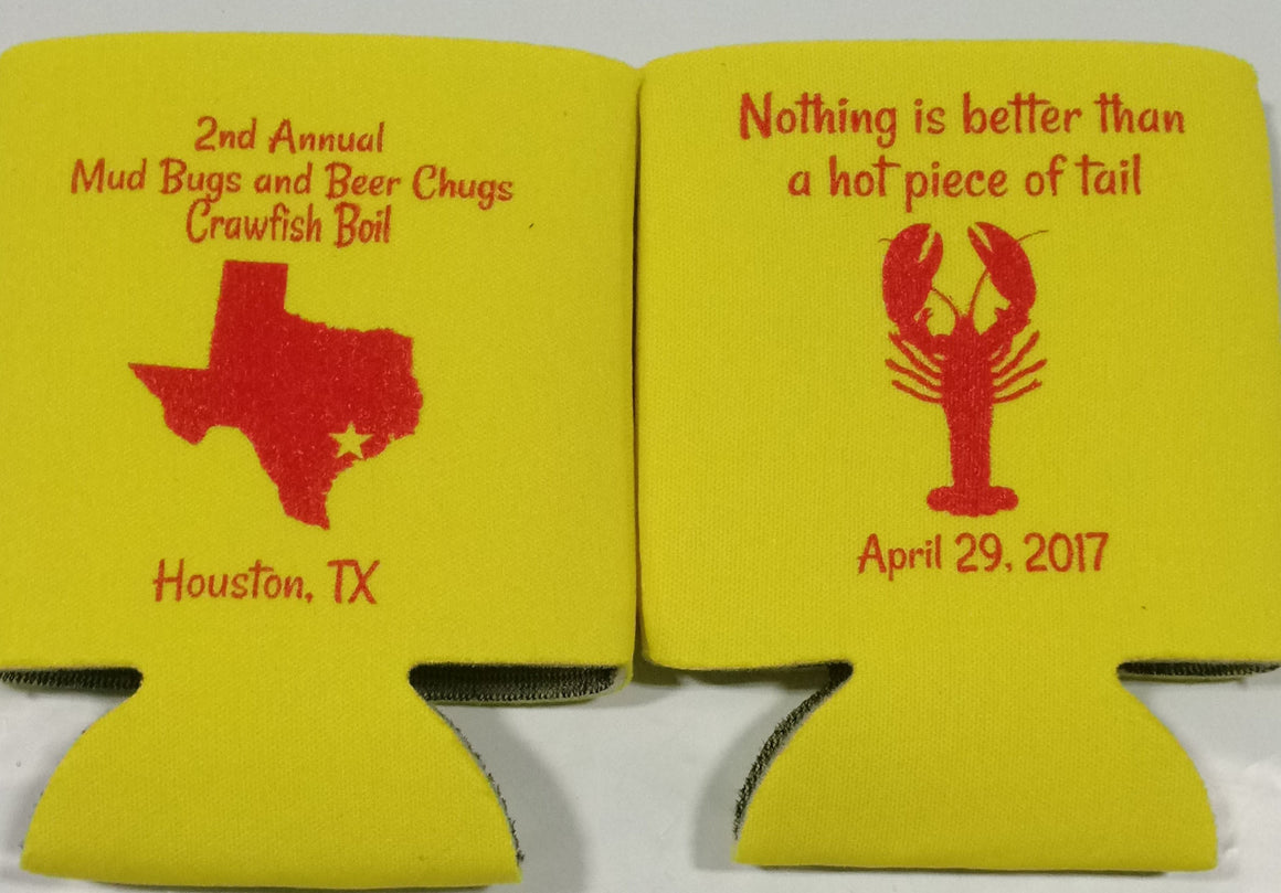 State Texas Crawfish Boil Koozies party can coolers