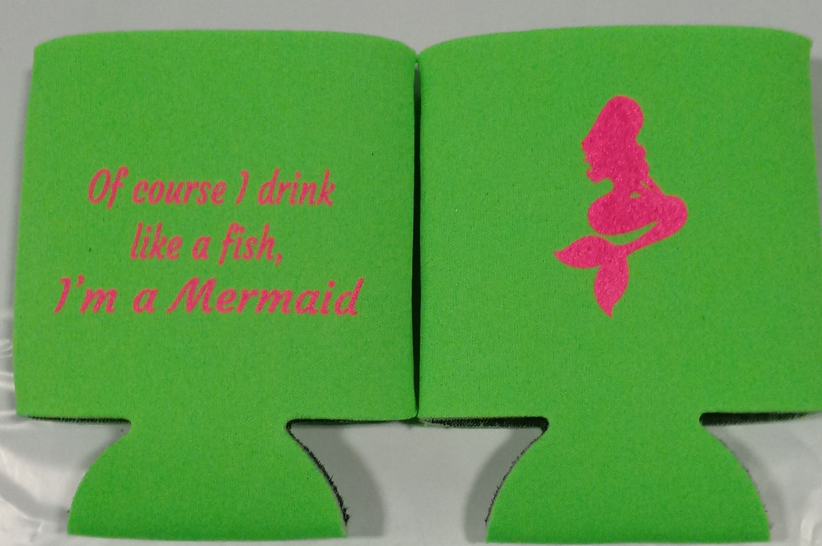 Mermaid Bachelorette koozie Party favors custom Can Coolers