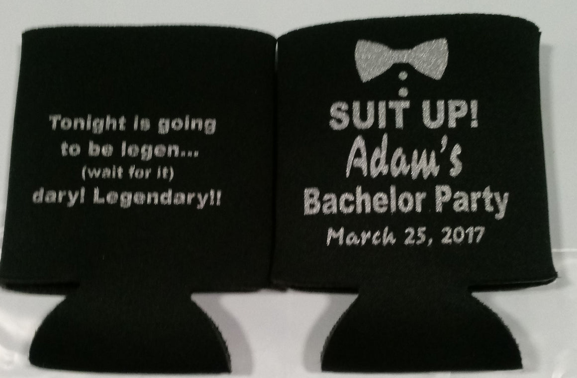 Suit Up Bachelor Party Koozies custom can coolies 1042870534