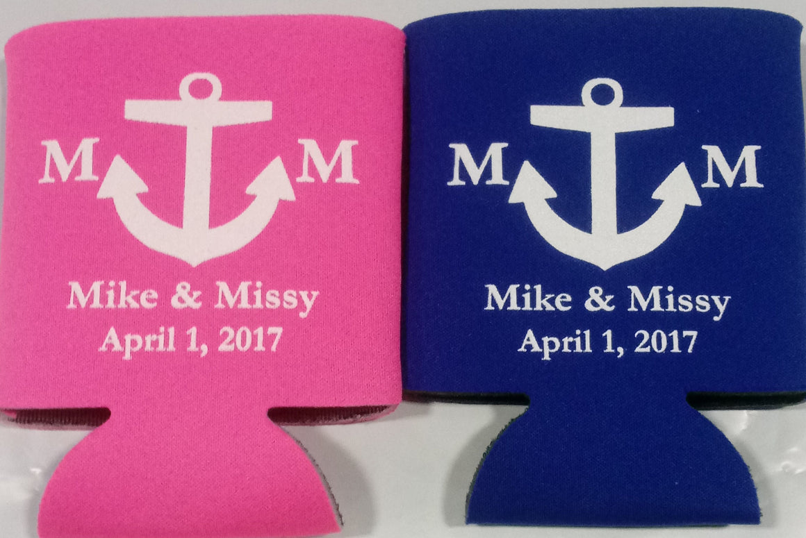 Nautical Monogram Wedding koozie custom Can Coolers