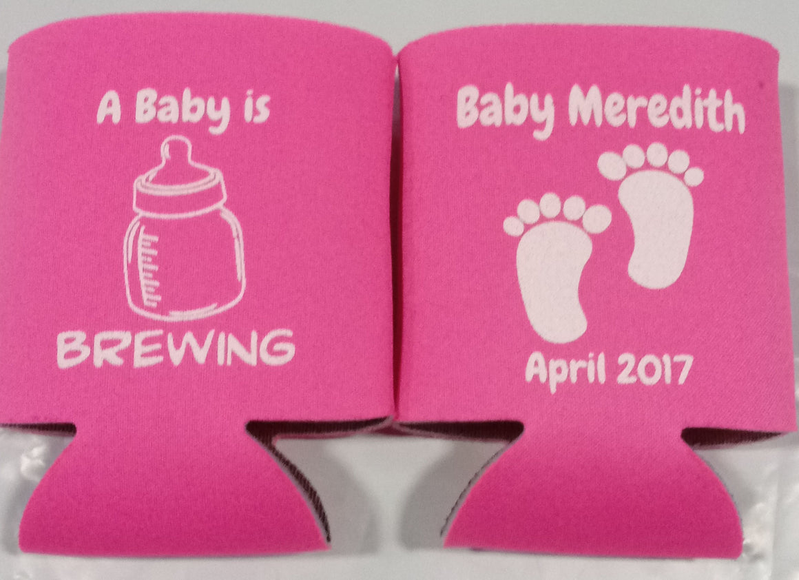 Baby is brewing Koozie shower feet Can Coolers
