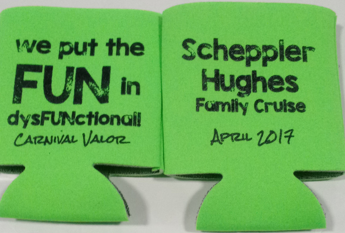 Family reunion cruise koozies custom can coolers