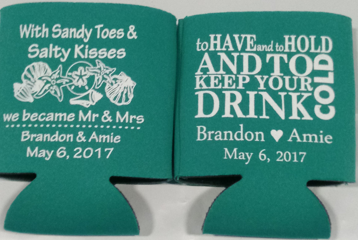 Sandy toes and salty kisses Wedding koozies beach custom favors