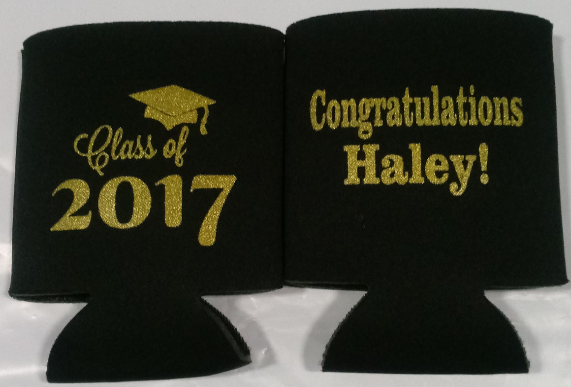 Class of custom graduation party favors can coolers personalized