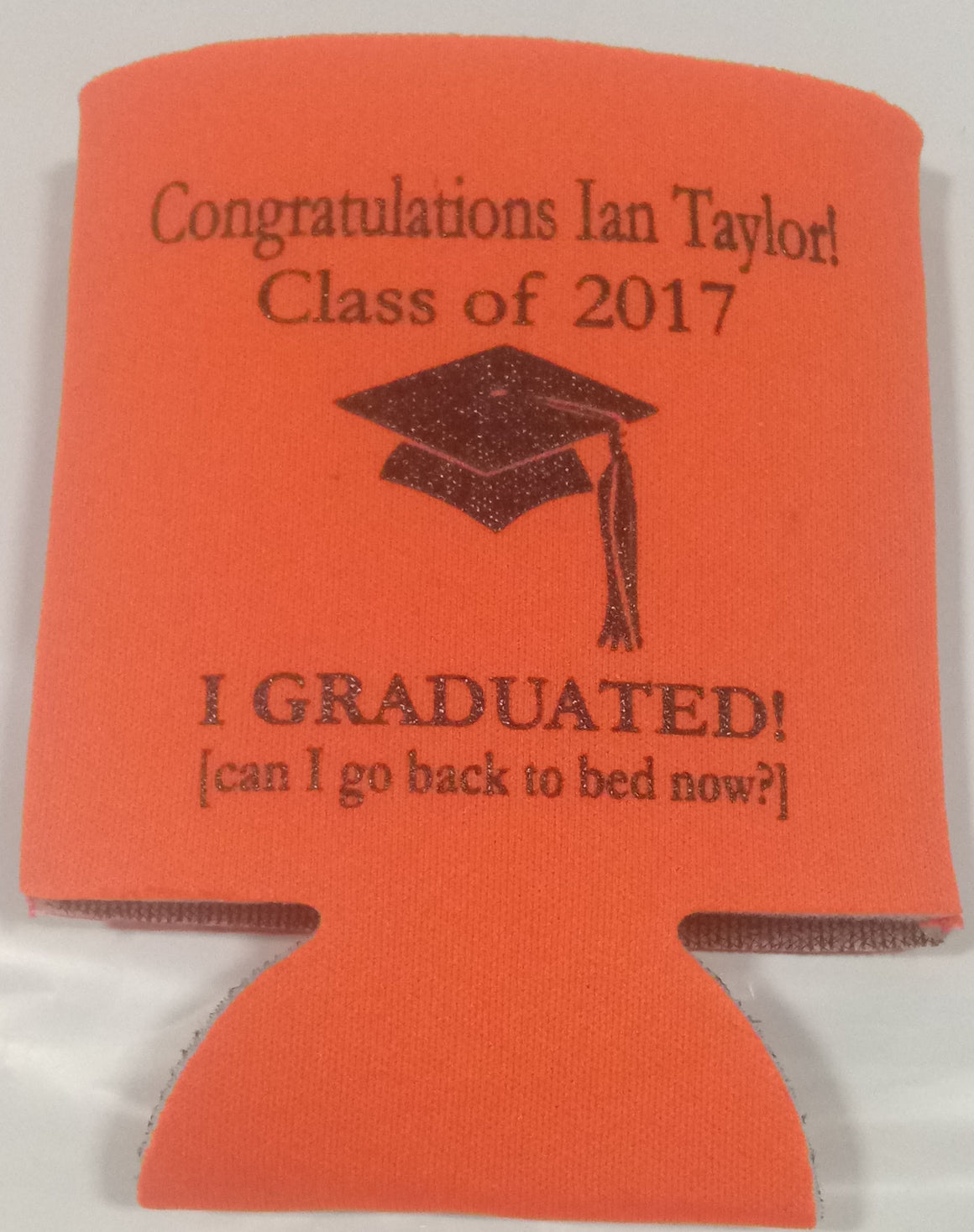 funny graduation party favors can coolers personalized