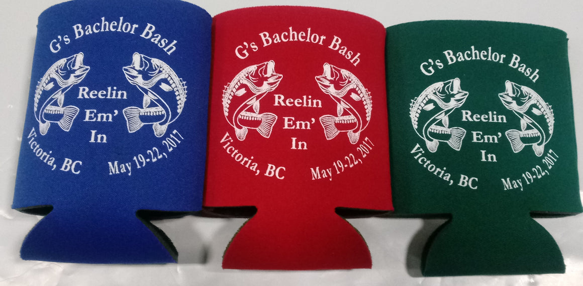 Fishing Bachelor Party custom Koozies low minimums